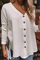 Casual V-Neck Buckle Solid Color Autumn Long-Sleeved Shirt