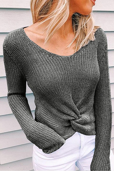 V Neck Irregular Hem Sweater