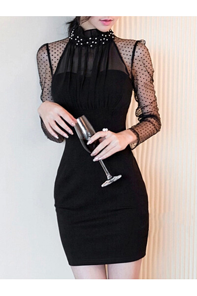 Band Collar  Patchwork See-Through  Plain Bodycon Dress