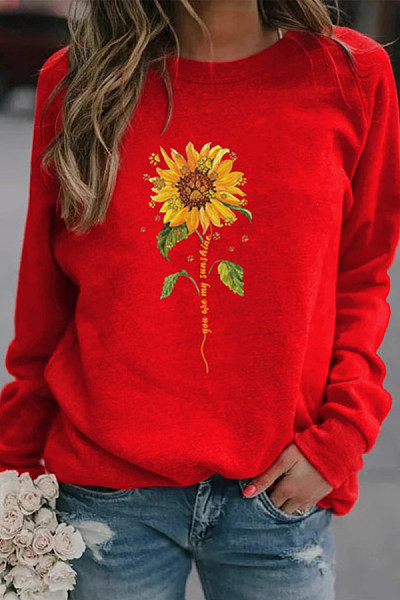 Casual sunflower print crew neck sweatshirt
