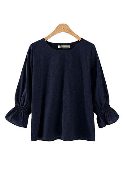 Round Neck Plain Casual Blouse