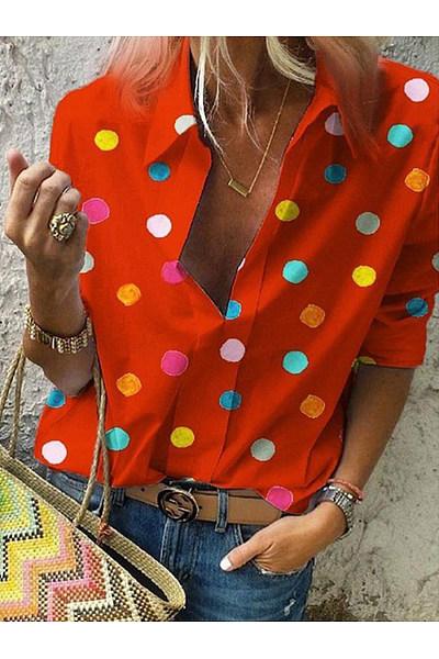 Small Lapel Long Sleeve Dots Printed Blouses