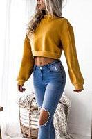 Round Neck  Exposed Navel  Plain  Sweatshirts