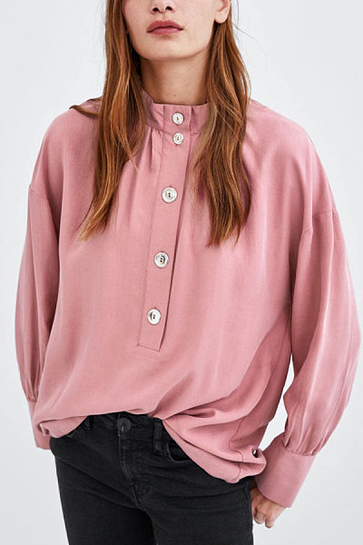 High Neck  Single Breasted  Plain  Blouses