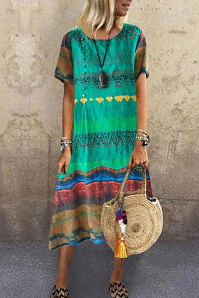 Short Sleeve Loose Colorblock Dress