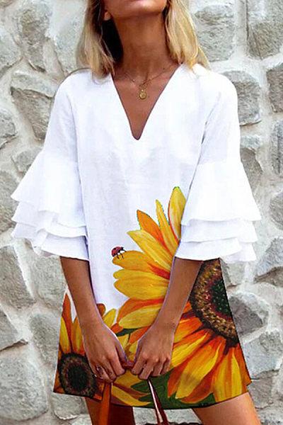 Loose Flower Print Mini Dress