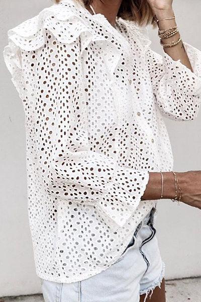 Lace Falbala Long Sleeve Casual Blouses