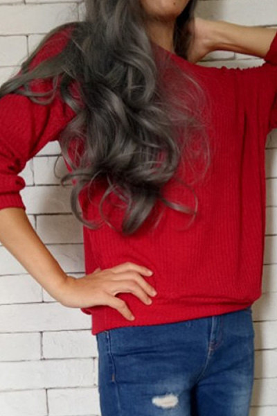 One Shoulder  Plain  Basic Sweaters
