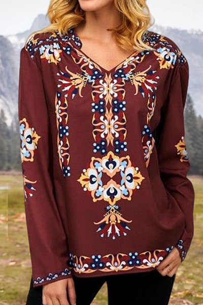 V Neck Long Sleeve Printed Casual T-shirt