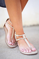 Plain  Flat  Peep Toe  Casual Travel Flat Sandals