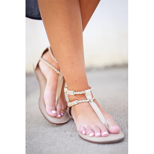 Plain  Flat  Peep Toe  Casual Travel Flat Sandals