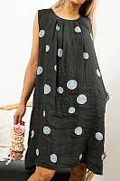Casual Sleeveless Round Neck Polka Dot Dress