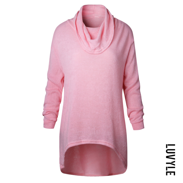 Pink Cowl Neck Plain High-Low Sweater