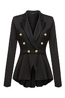 Narrow Notch Lapel  Asymmetric Hem Double Breasted Blazers