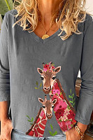 Giraffe Printed V Neck Loose T-shirt