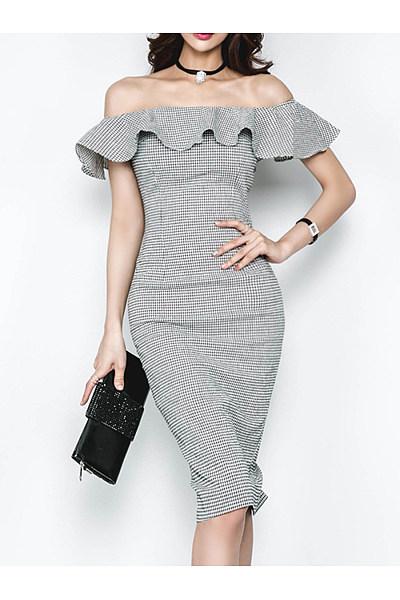 Off Shoulder  Plaid  Blend Bodycon Dress