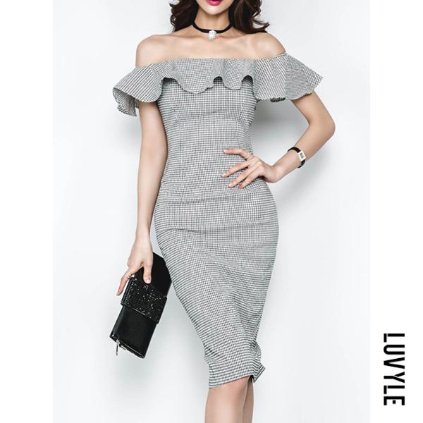 White Black Off Shoulder Plaid Blend Bodycon Dress White Black Off Shoulder Plaid Blend Bodycon Dress