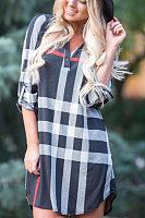 V Neck  Asymmetric Hem Gingham Casual Dresses