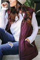 Hooded  Drawstring Zipper  Plain Outerwear