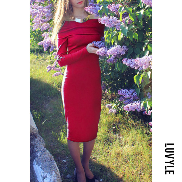 Red Off Shoulder Plain Long Sleeve Bodycon Dresses Red Off Shoulder Plain Long Sleeve Bodycon Dresses