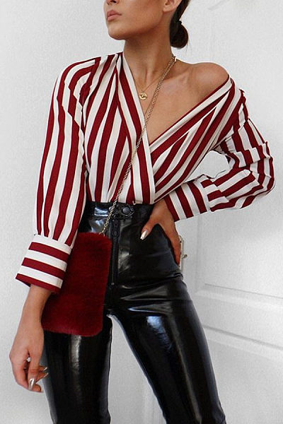 Surplice  Striped Elegant Blouses