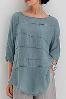 Round Neck Plain Curved Hem Blouse