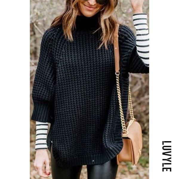 Short High Collar Three Quarters Sleeve Plain Sweater - from $28.00