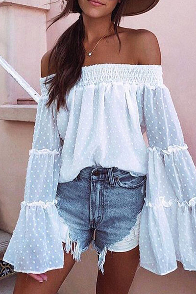 Word Collar Chiffon Bell Sleeve Blouses