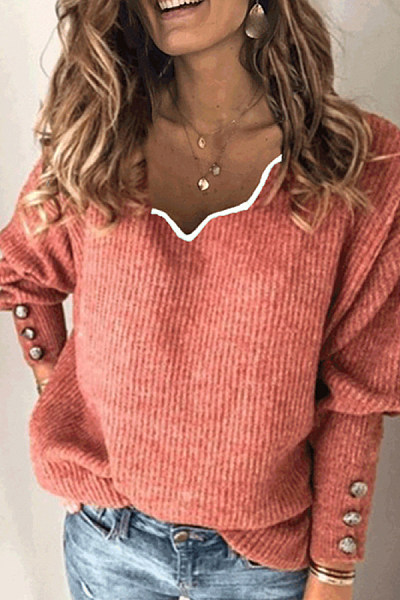 Women's fashion V-neck sweater