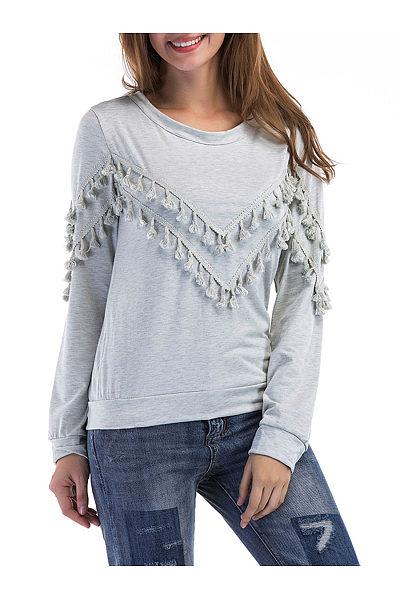 Round Neck Tassel Plain Sweatshirt