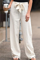 Bow Knot Solid Color Loose Pants