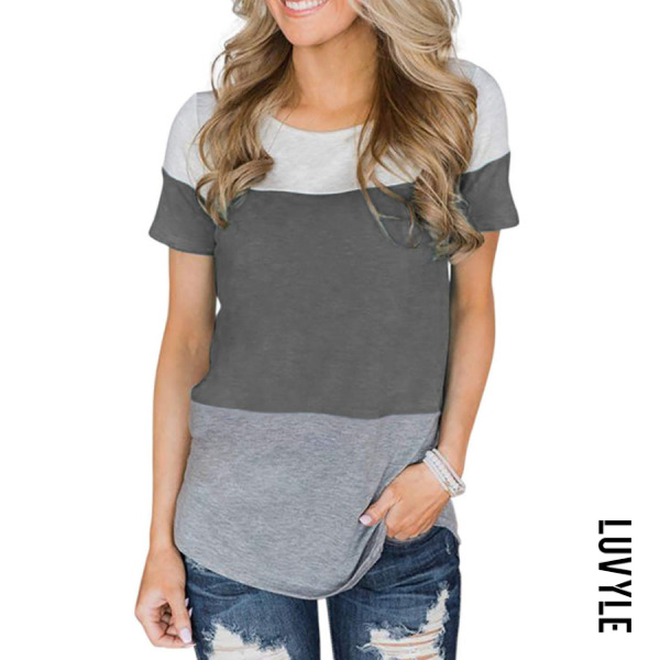 Gray Round Neck Patchwork T-Shirts Gray Round Neck Patchwork T-Shirts