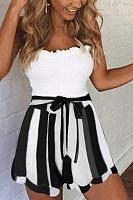 Asymmetric Hem  Belt Loops  Striped Pants