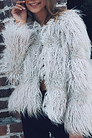 Faux Fur Collar  Plain  Teddy  Outerwear
