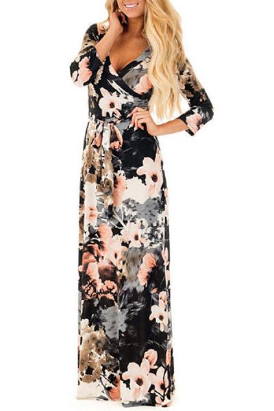 Surplice  Belt  Floral Printed Maxi Dresses