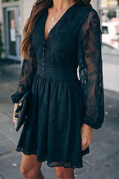 Sexy Deep V Neck Black See Through Lace Dress