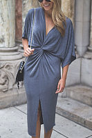 Deep V Neck  Plain  Batwing Sleeve  Half Sleeve Maxi Dresses