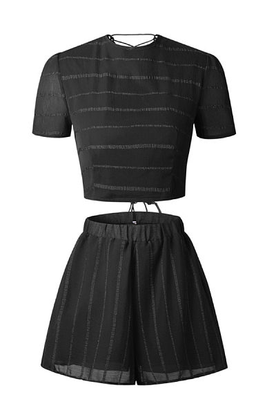Round Neck  Backless Cross Straps  Striped Two-Piece Outfits
