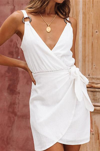 V-Neck Sleeveless Backless Slim Tie Sweet Dress