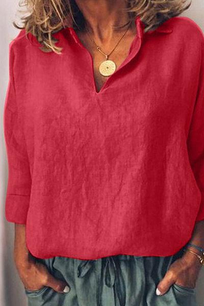 Fashion Casual Plain V Neck Long Sleeves Blouse