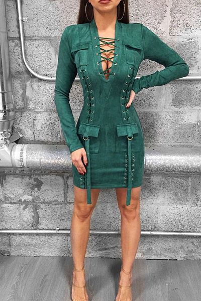806043e0fab5 Deep V Neck Flap Pocket Lace Up Plain Bodycon Dresses - Luvyle.com