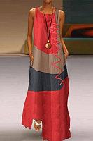 Color Block Round Neck Sleeveless Maxi Dress