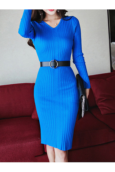 V-Neck Belt Plain Knitted Bodycon Dress
