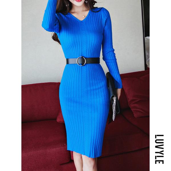 Lake Blue V-Neck Belt Plain Knitted Bodycon Dress Lake Blue V-Neck Belt Plain Knitted Bodycon Dress