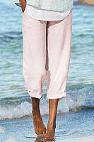 Wild Cotton Casual Solid Color Pants