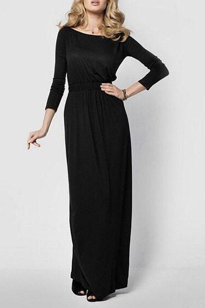 Scoop Neck  Elastic Waist  Plain Maxi Dresses