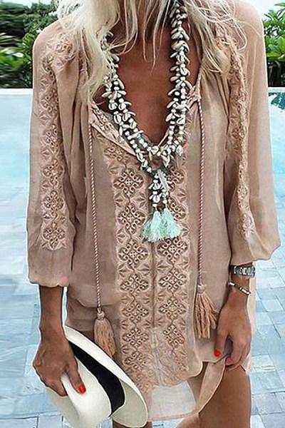 Chiffon Stitching Long Sleeve Loose Dress