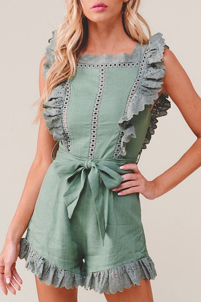 Square Neck  Plain  Sleeveless  Elegant Playsuits