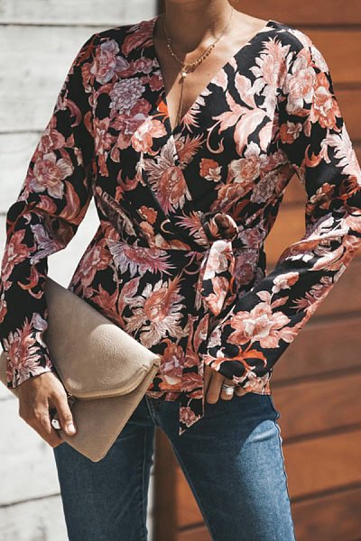 V Neck  Belt  Floral Printed  Blouses
