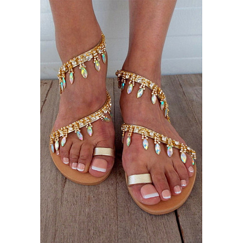 Bohemian  Flat  Peep Toe  Casual Travel Vacation Wedding Flat Sandals